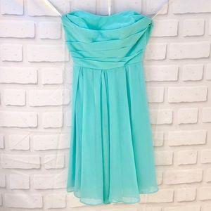 David's Bridal Short Strapless Light Blue Dress